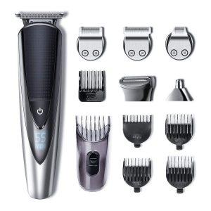 Recortadora de barba impermeable con accesorios